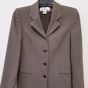 Womens Blazer Brown & Beige Checked Long Sleeves